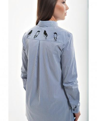 Блузка для беременных с птицами на плечах