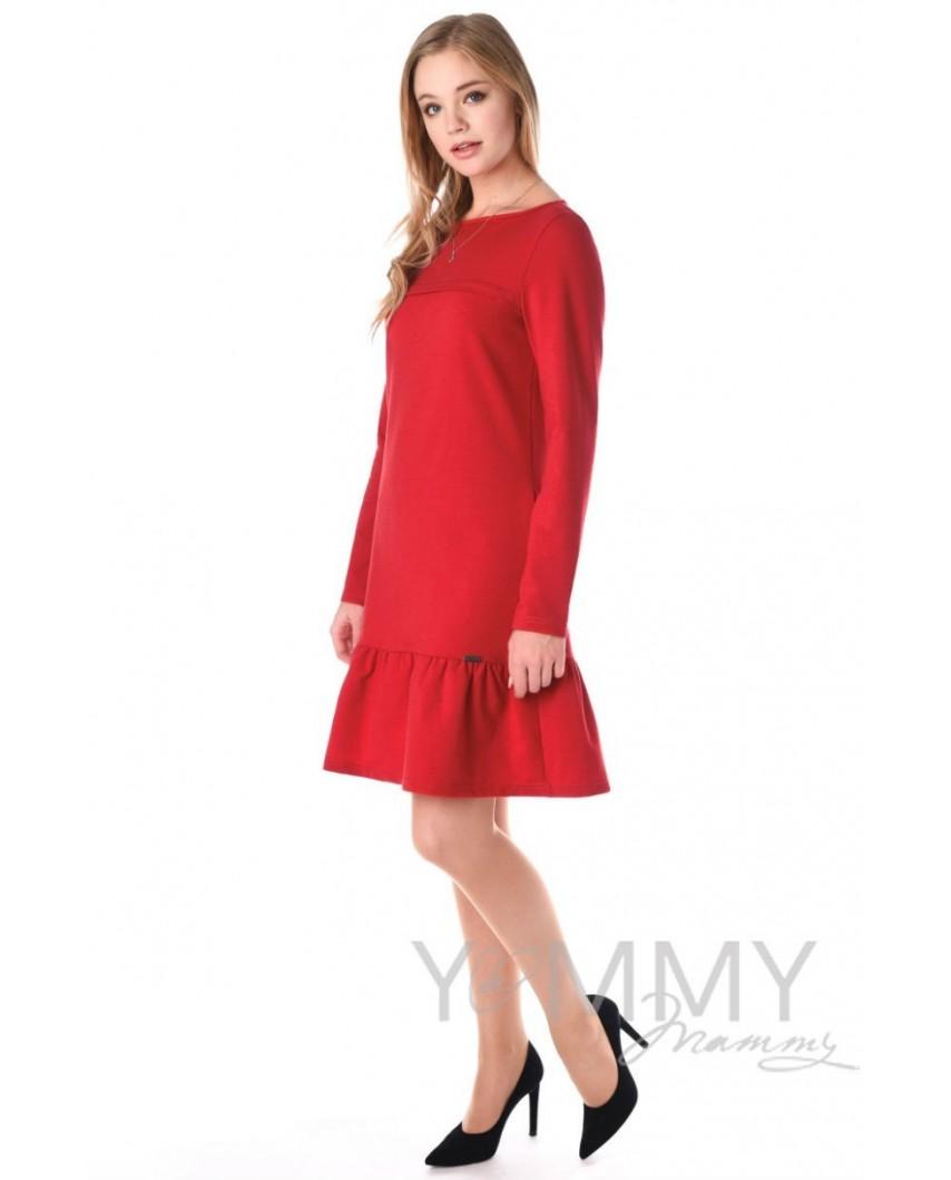 Платье с воланом (красный)